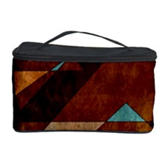 Turquoise And Bronze Triangle Design With Copper Cosmetic Storage Case by theunrulyartist