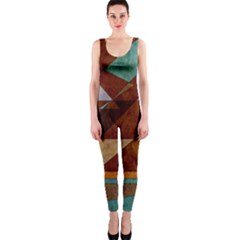 Turquoise And Bronze Triangle Design With Copper Onepiece Catsuit by theunrulyartist