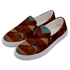 Turquoise And Bronze Triangle Design With Copper Men s Canvas Slip Ons by theunrulyartist