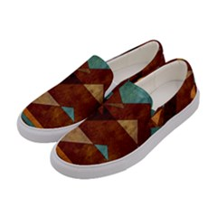 Turquoise And Bronze Triangle Design With Copper Women s Canvas Slip Ons by theunrulyartist