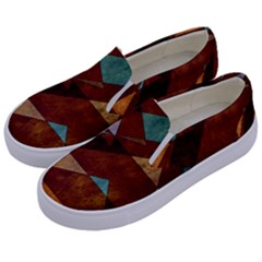 Turquoise And Bronze Triangle Design With Copper Kids  Canvas Slip Ons by theunrulyartist