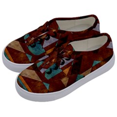 Turquoise And Bronze Triangle Design With Copper Kids  Classic Low Top Sneakers by theunrulyartist