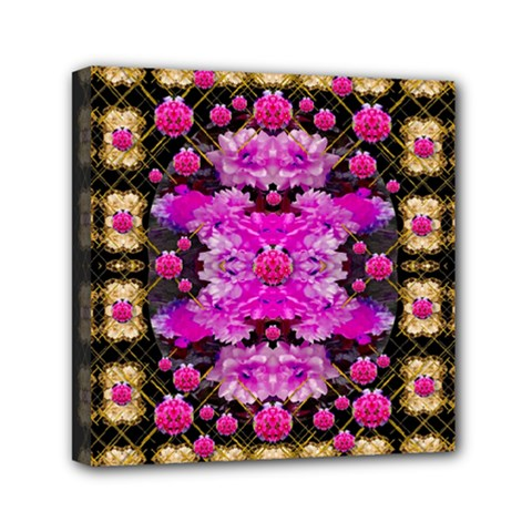 Flowers And Gold In Fauna Decorative Style Mini Canvas 6  X 6  by pepitasart