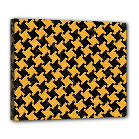 Houndstooth2 Black Marble & Orange Colored Pencil Deluxe Canvas 24  X 20   by trendistuff