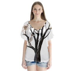 Dead Tree  V Neck Flutter Sleeve Top by Valentinaart