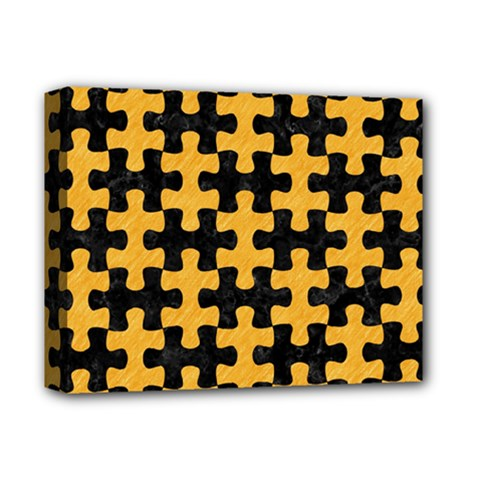 Puzzle1 Black Marble & Orange Colored Pencil Deluxe Canvas 14  X 11  by trendistuff