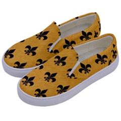 Royal1 Black Marble & Orange Colored Pencil Kids  Canvas Slip Ons by trendistuff