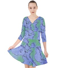 Fantasy Dungeon Maps 5 Quarter Sleeve Front Wrap Dress