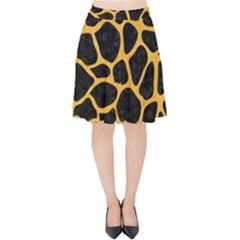 Skin1 Black Marble & Orange Colored Pencil (r) Velvet High Waist Skirt by trendistuff