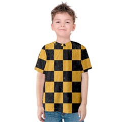 Square1 Black Marble & Orange Colored Pencil Kids  Cotton Tee by trendistuff