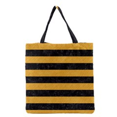 Stripes2 Black Marble & Orange Colored Pencil Grocery Tote Bag by trendistuff