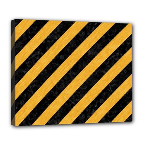 Stripes3 Black Marble & Orange Colored Pencil Deluxe Canvas 24  X 20   by trendistuff