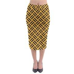 Woven2 Black Marble & Orange Colored Pencil (r) Midi Pencil Skirt by trendistuff