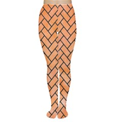 Brick2 Black Marble & Orange Watercolor Women s Tights by trendistuff