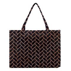 Brick2 Black Marble & Orange Watercolor (r) Medium Tote Bag by trendistuff