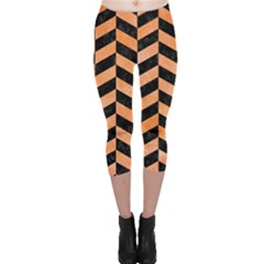 Chevron1 Black Marble & Orange Watercolor Capri Leggings  by trendistuff