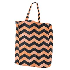 Chevron3 Black Marble & Orange Watercolor Giant Grocery Zipper Tote by trendistuff