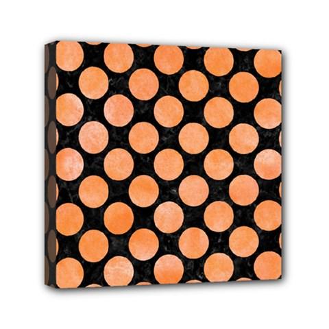 Circles2 Black Marble & Orange Watercolor (r) Mini Canvas 6  X 6  by trendistuff