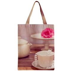 High Tea, Shabby Chic Zipper Classic Tote Bag by 8fugoso