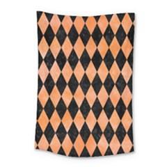 Diamond1 Black Marble & Orange Watercolor Small Tapestry by trendistuff