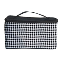 Classic Vintage Black And White Houndstooth Pattern Cosmetic Storage Case by Beachlux