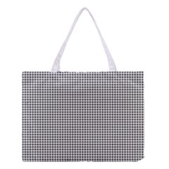 Classic Vintage Black And White Houndstooth Pattern Medium Tote Bag by Beachlux