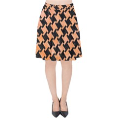 Houndstooth2 Black Marble & Orange Watercolor Velvet High Waist Skirt by trendistuff