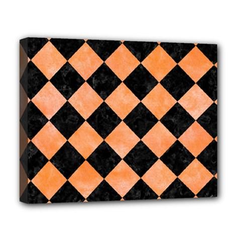 Square2 Black Marble & Orange Watercolor Deluxe Canvas 20  X 16   by trendistuff