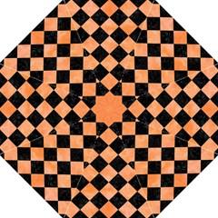 Square2 Black Marble & Orange Watercolor Hook Handle Umbrellas (medium) by trendistuff