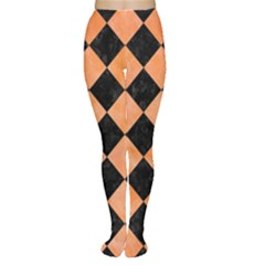Square2 Black Marble & Orange Watercolor Women s Tights by trendistuff