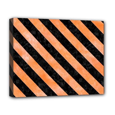 Stripes3 Black Marble & Orange Watercolor Deluxe Canvas 20  X 16   by trendistuff