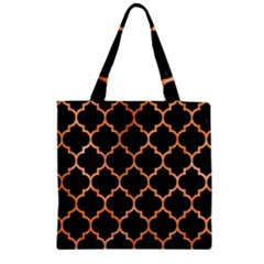 Tile1 Black Marble & Orange Watercolor (r) Zipper Grocery Tote Bag by trendistuff