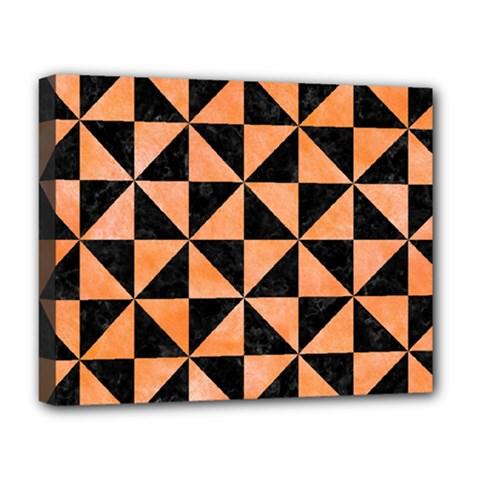 Triangle1 Black Marble & Orange Watercolor Deluxe Canvas 20  X 16   by trendistuff