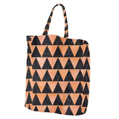 Triangle2 Black Marble & Orange Watercolor Giant Grocery Zipper Tote by trendistuff