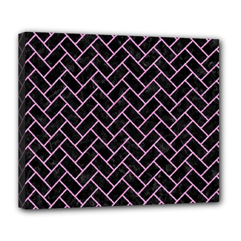 Brick2 Black Marble & Pink Colored Pencil (r) Deluxe Canvas 24  X 20   by trendistuff