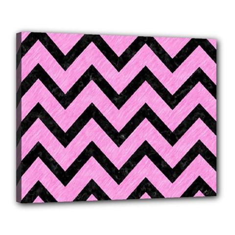 Chevron9 Black Marble & Pink Colored Pencil Canvas 20  X 16  by trendistuff