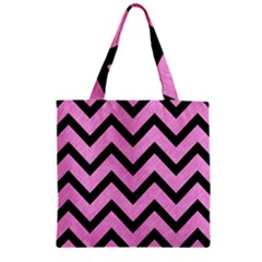 Chevron9 Black Marble & Pink Colored Pencil Zipper Grocery Tote Bag by trendistuff