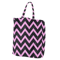 Chevron9 Black Marble & Pink Colored Pencil (r) Giant Grocery Zipper Tote by trendistuff