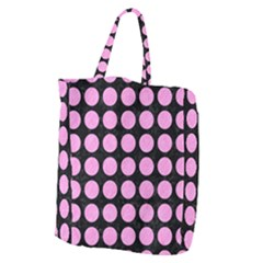 Circles1 Black Marble & Pink Colored Pencil (r) Giant Grocery Zipper Tote by trendistuff