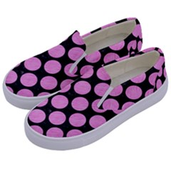 Circles2 Black Marble & Pink Colored Pencil (r) Kids  Canvas Slip Ons by trendistuff