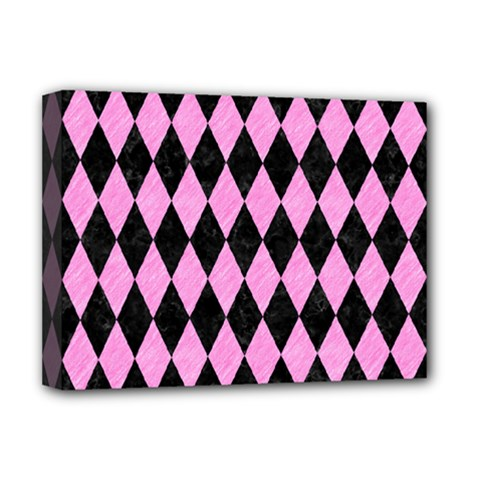 Diamond1 Black Marble & Pink Colored Pencil Deluxe Canvas 16  X 12   by trendistuff