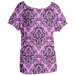 Damask1 Black Marble & Pink Colored Pencil Women s Oversized Tee