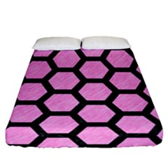 Hexagon2 Black Marble & Pink Colored Pencil Fitted Sheet (queen Size) by trendistuff