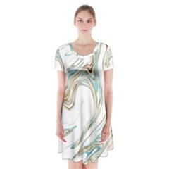 Abstract Marble 1 Short Sleeve V Neck Flare Dress by tarastyle
