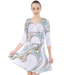 Abstract Marble 1 Quarter Sleeve Front Wrap Dress