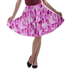 Pink Grunge Love A Line Skater Skirt by KirstenStar