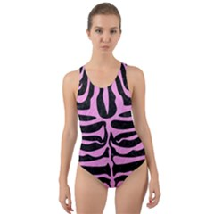Skin2 Black Marble & Pink Colored Pencil (r) Cut Out Back One Piece Swimsuit