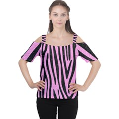 Skin4 Black Marble & Pink Colored Pencil (r) Cutout Shoulder Tee by trendistuff