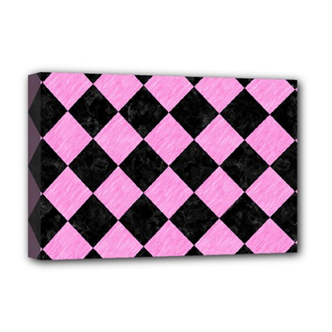 Square2 Black Marble & Pink Colored Pencil Deluxe Canvas 18  X 12   by trendistuff