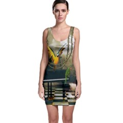 Funny Parrots In A Fantasy World Bodycon Dress by FantasyWorld7
